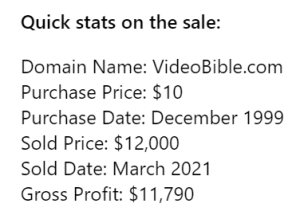 Behind the Sale: VideoBible.com – from $10 purchase to $12,000 sale