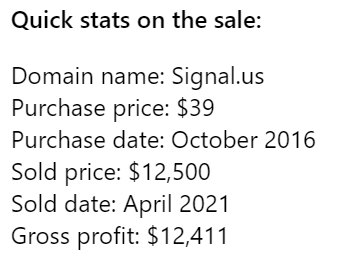 Behind the Sale: Signal.us – from $39 purchase to $12,500 sale