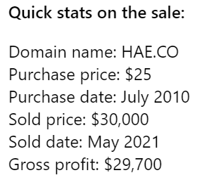 Behind the Sale: HAE.CO – from $25 purchase to $30,000 sale